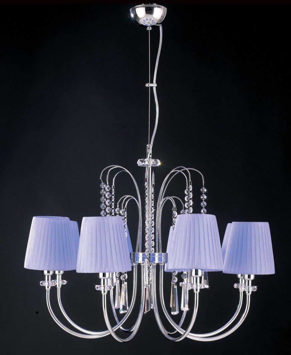 lampadario moderno paralumi organza glicine 8 luci la