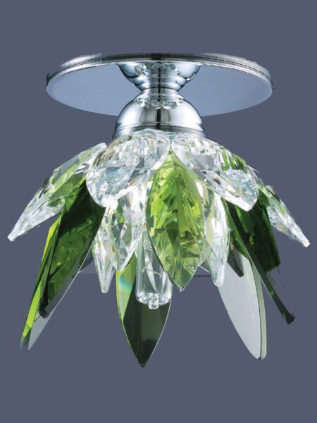 Faretto Cromo Lucido Incasso Cristallo Verde