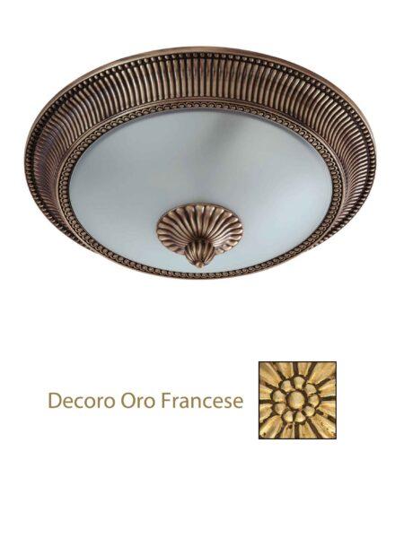 Plafoniera Ottone Lavorato Oro Francese cm 40