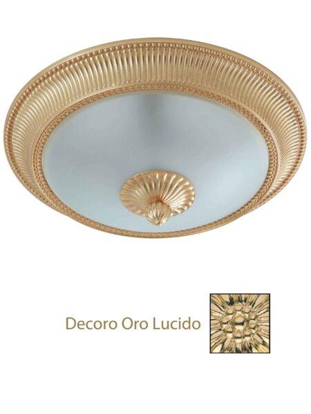 Plafoniera Ottone Lavorato Oro Lucido cm 50