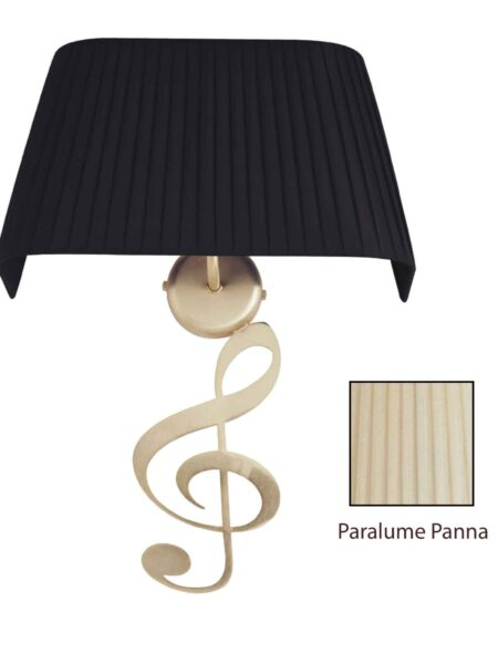 Applique Nota Musicale Oro Satinato Paralume Tessuto Pongè Panna