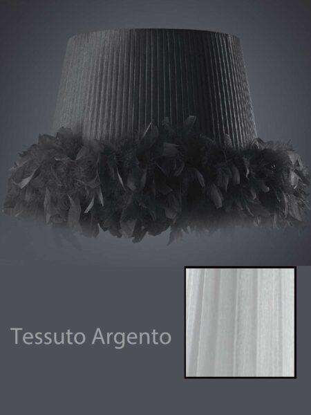 Applique Plissè Tessuto Organza Argento Moderno 1 Luce