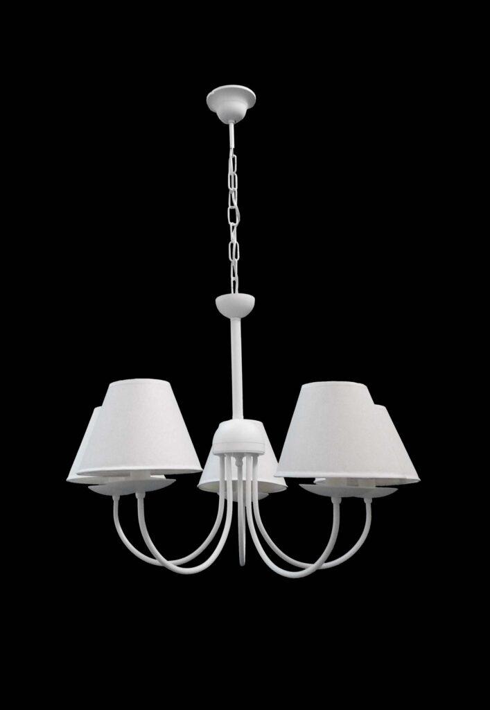 lampadario bianco 5 luci provenzale shabby chic la luce
