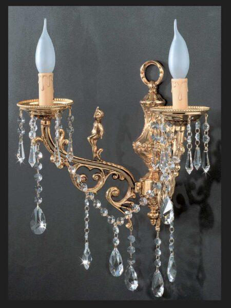 Applique 2 Luci Ottone Oro Lucido Cristalli Asfour