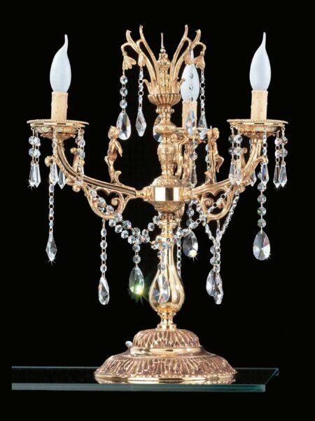 Lume 3 Luci Ottone Oro Lucido Cristalli Asfour