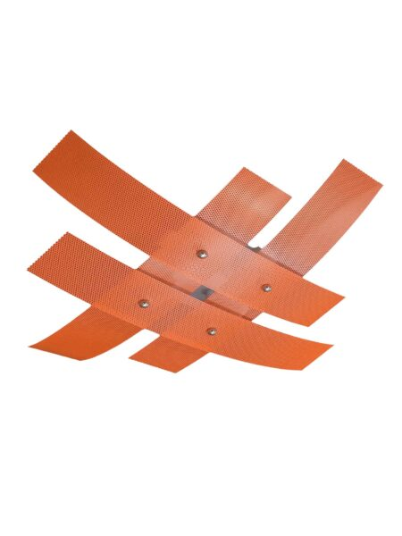 Plafoniera Moderna 4 Luci Arancio Metallo Forato