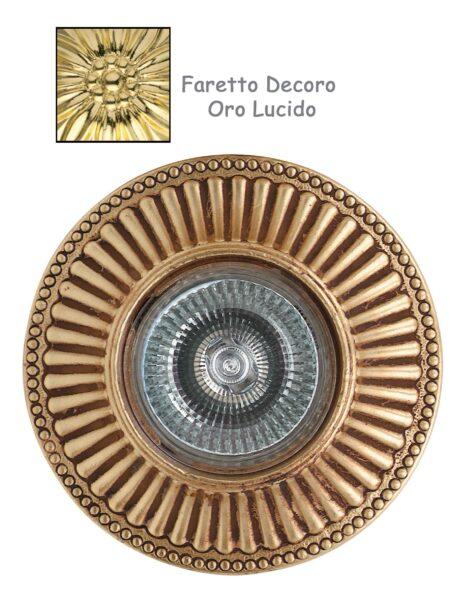 Faretto Incasso Classico Fusione Decoro Oro Lucido