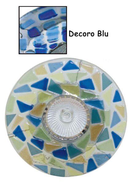 Faretto Vetro Fusione Incasso Blu Made Italy