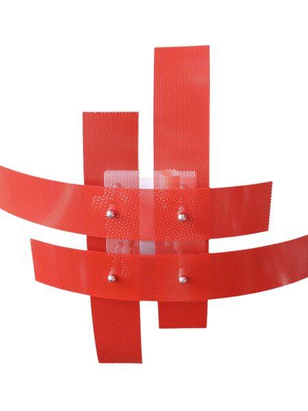 Plafoniera 4 Luci Moderna Metallo Rosso