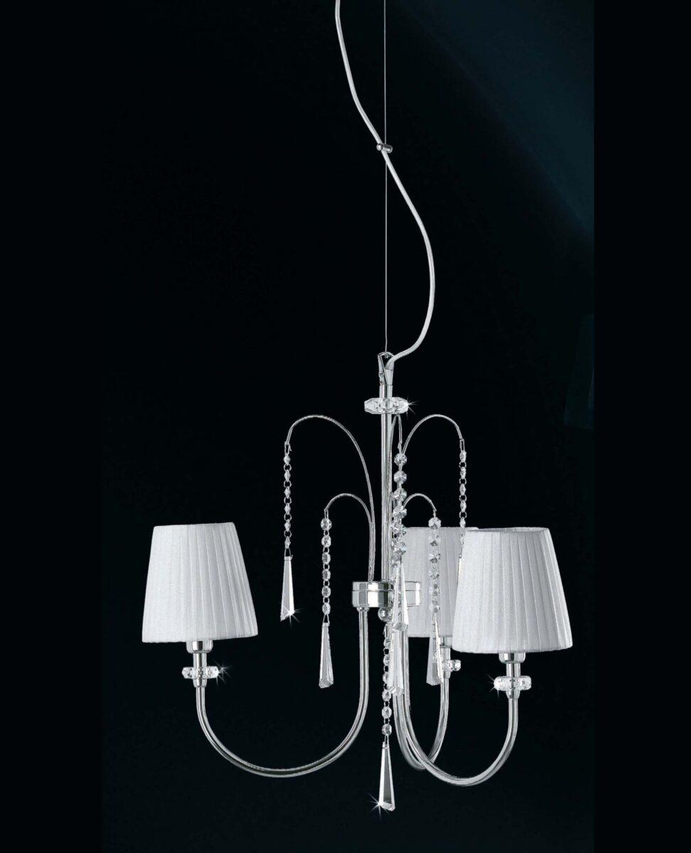 lampadario camera letto paralumi organza bianco la luce