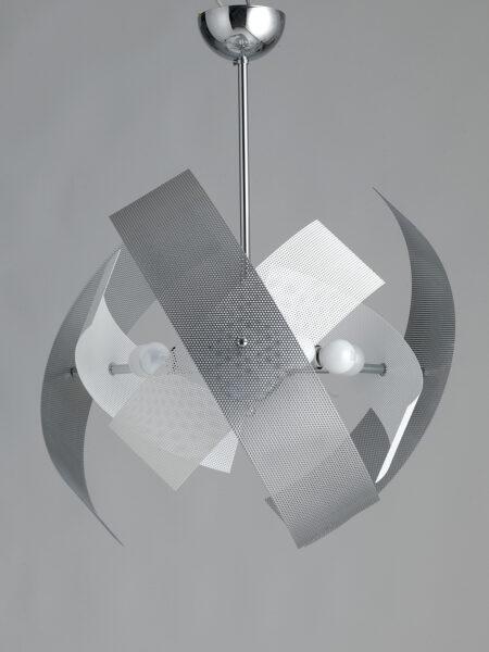Lampadario Moderno 9 Luci Bianco Cromo