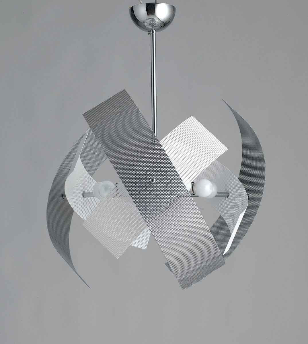 Lampadario moderno 9 luci bianco cromo la luce del futuro - Lumi camera da letto ...