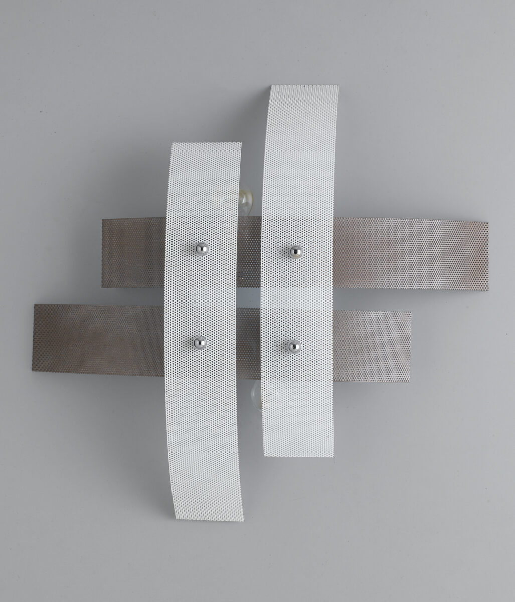Plafoniera moderna 4 luci tortora bianco la luce del futuro for Plafoniera moderna