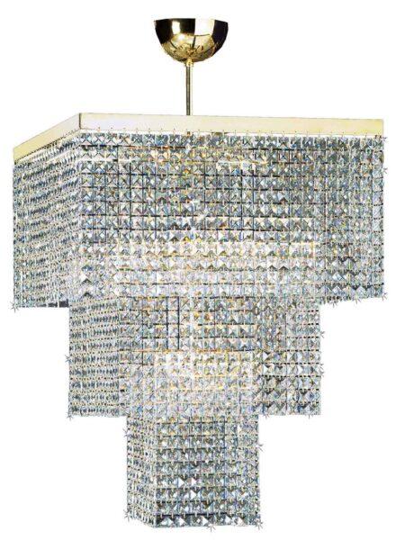 Lampadario Salone Oro Lucido Strass Cristallo