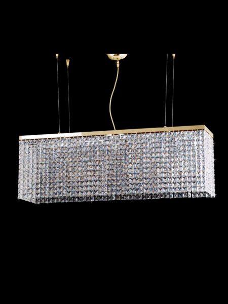 Lampadario Salone Oro Lucido Cristallo Strass