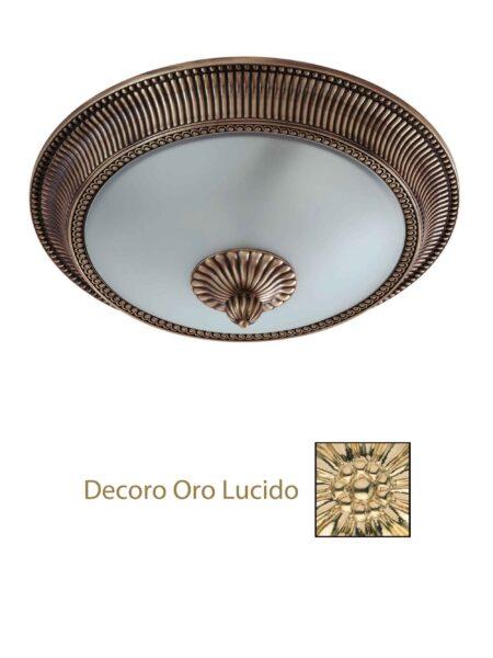 Plafoniera Ottone Lavorato Oro Lucido cm 40