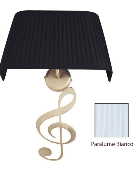 Applique Nota Musicale Oro Satinato Paralume Tessuto Pongè Bianco
