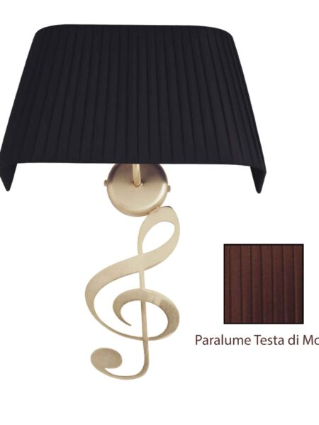 Applique Nota Musicale Oro Satinato Paralume Tessuto Pongè Testa di Moro