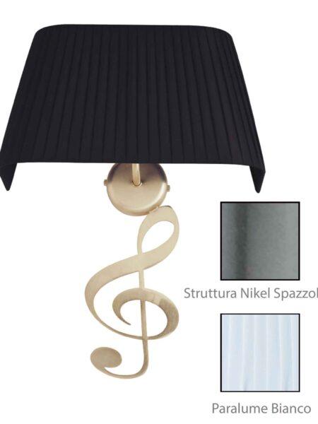 Applique Nota Musicale Nikel Spazz Paralume Tessuto Pongè Bianco