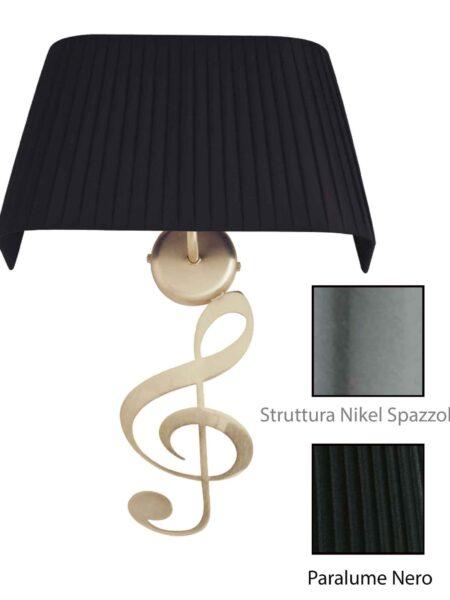 Applique Nota Musicale Nikel Spazz Paralume Tessuto Pongè Nero
