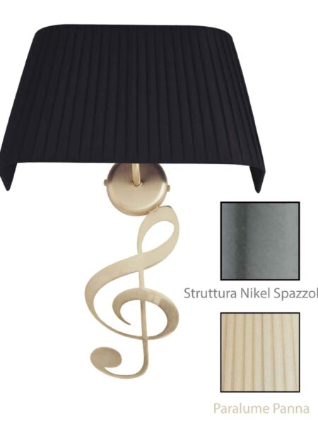 Applique Nota Musicale Nikel Spazz Paralume Tessuto Pongè Panna
