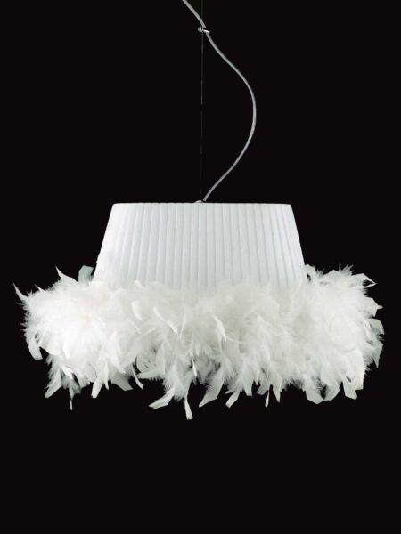 Sospensione cm 45 Paralume Plissè Tessuto Pongè Bianco