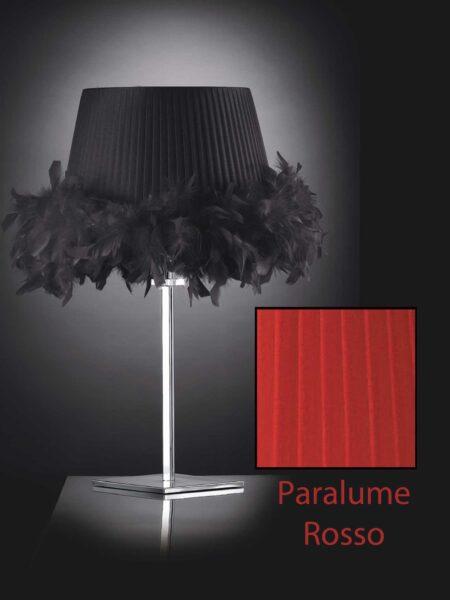 Lume Moderno Cromo Lucido Paralume Plissè Organza Rosso