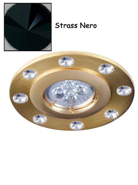 Faretto Strass Swarovsky Oro Satinato Nero
