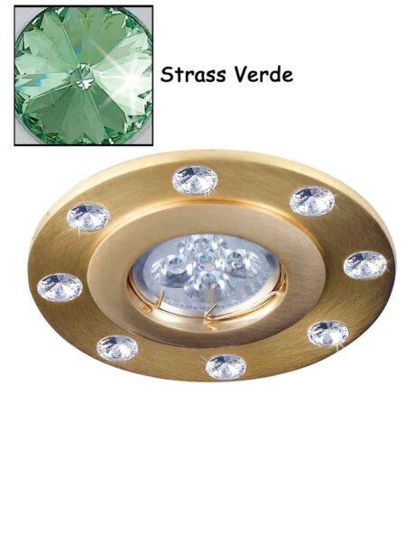 Faretto Incasso Strass Swarovsky Oro Satinato Verde