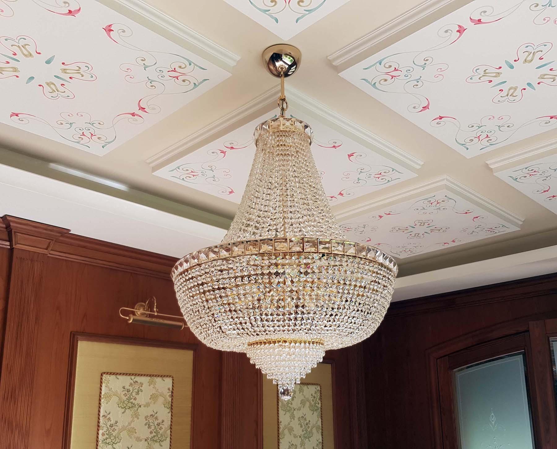 Lampadario Rosa Cristallo : Lampadario stile impero cristalli strass diametro cm la luce