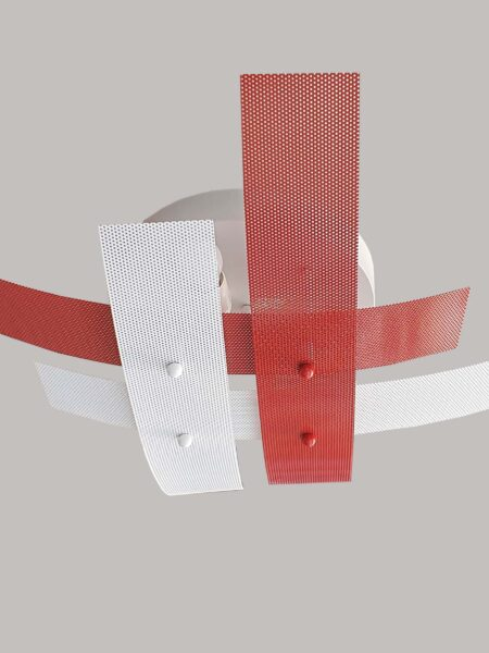 Plafoniera 4 Luci Moderna Metallo Rosso Bianco