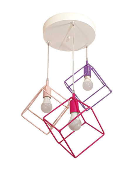 Lampadario Plafoniera Cubi Multi Color Rosa Fucsia Glicine