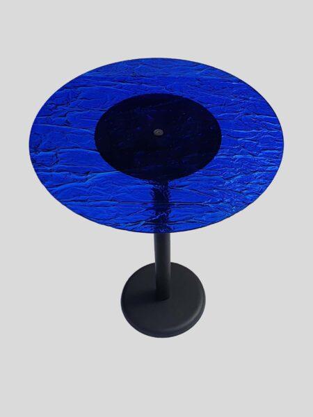Tavolo Rotondo in Plexiglass Effetto Ghiaccio Blu