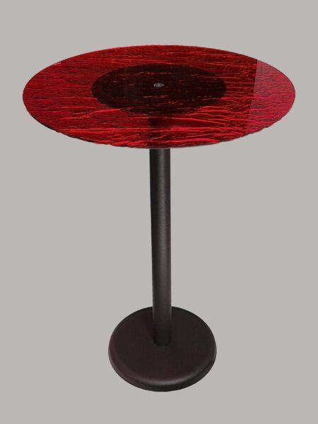 Tavolo Rotondo in Plexiglass Effetto Ghiaccio Rosso