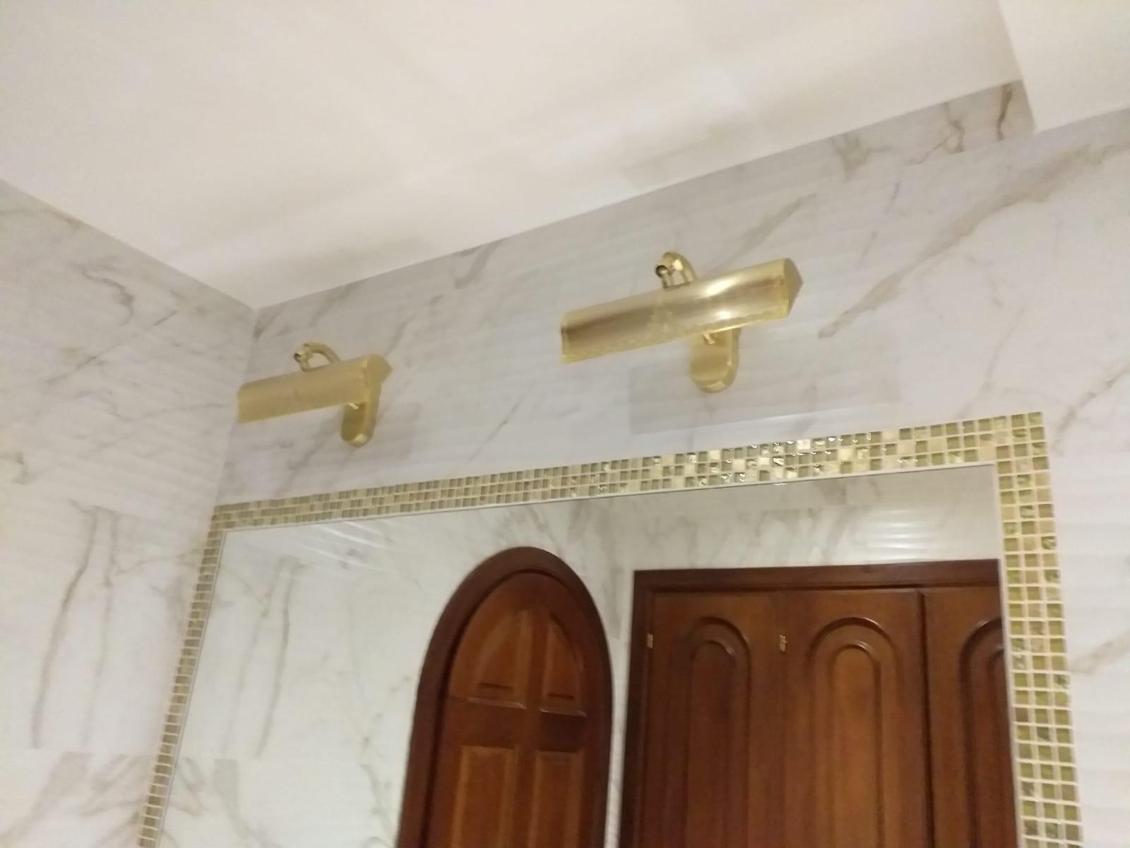 Applique quadri camera ottone lavorato oro satinato la luce del