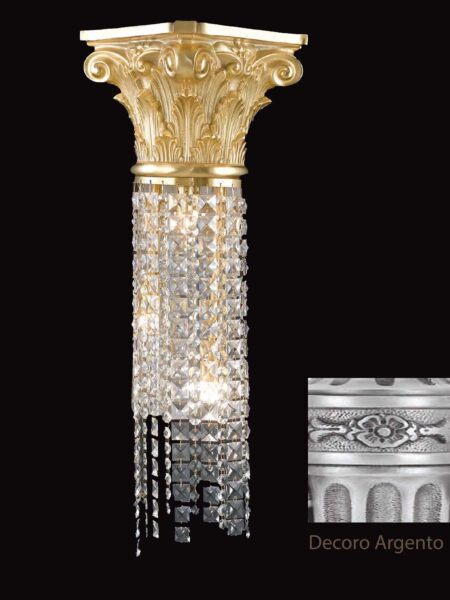 Applique Ottone Argento Antico Lavorato Cristalli Asfour