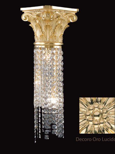 Applique Ottone Oro Lucido Lavorato Cristalli Asfour