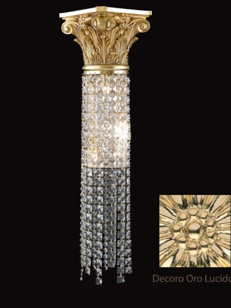 Applique Ottone Lavorato Oro Lucido Cristalli Asfour