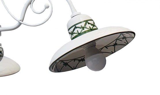 Lampadario 3 Luci Ceramica Bianco Intreccio Verde