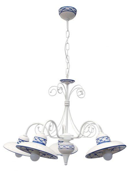 Lampadario 5 Luci Ceramica Bianco Intreccio Blu