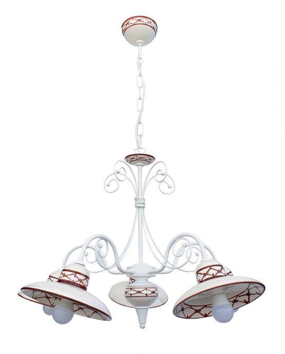 Lampadario 5 Luci Ceramica Bianco Intreccio Marrone