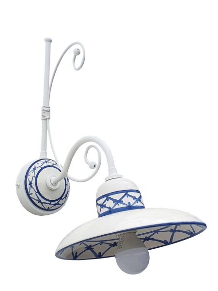 Applique Ceramica Bianco Intreccio Blu