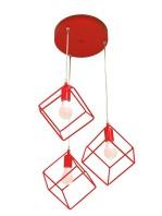 Lampadario Plafoniera Cubi Rosso