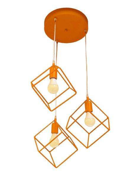 Lampadario Plafoniera Cubo Arancio