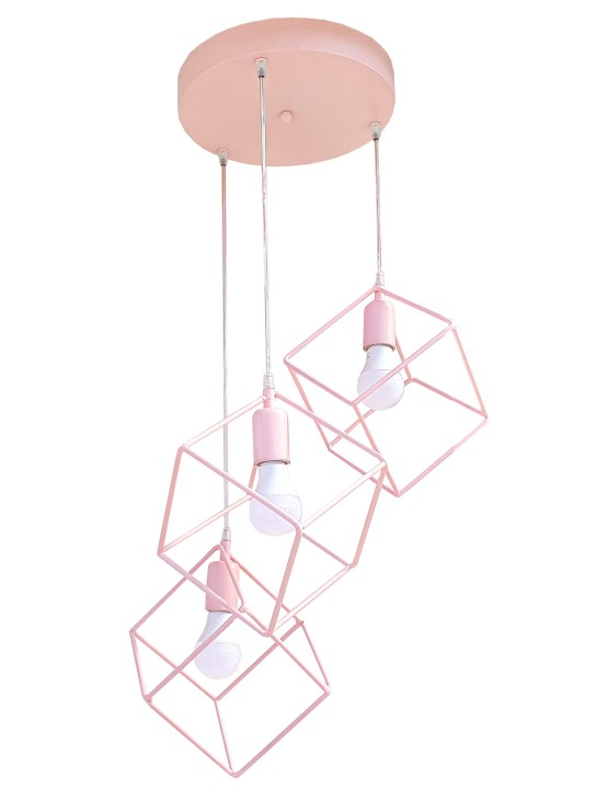 Lampadario Plafoniera Cubi Rosa