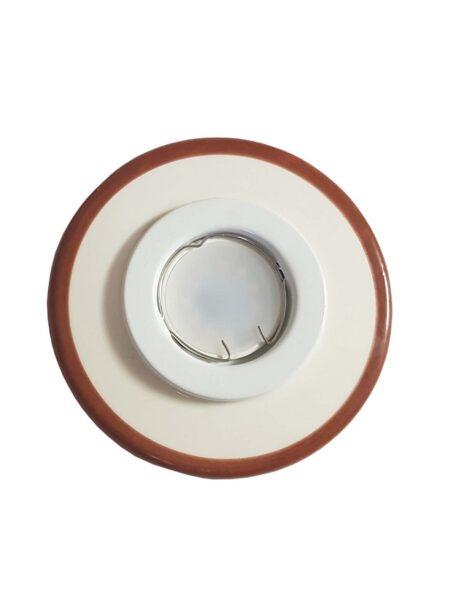 Faretto Ceramica Lavorata a Mano Decoro Marrone