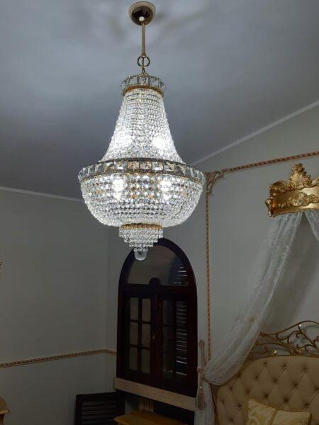 Lampadario Stile Impero Oro Lucido Diametro Cm. 50