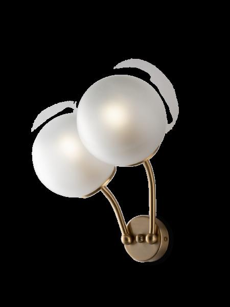 Applique 2 luci Oro Satinato Sfere Vetro Satinato