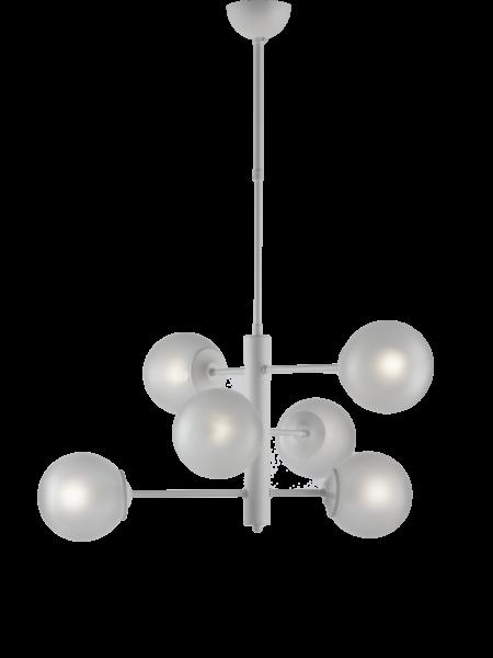 Lampadario Bianco 6 Luci Sfere Vetro Satinato