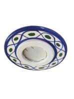 Faretto Incasso Ceramica Decoro Blu
